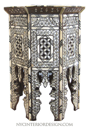Black & bone inlay moroccan table