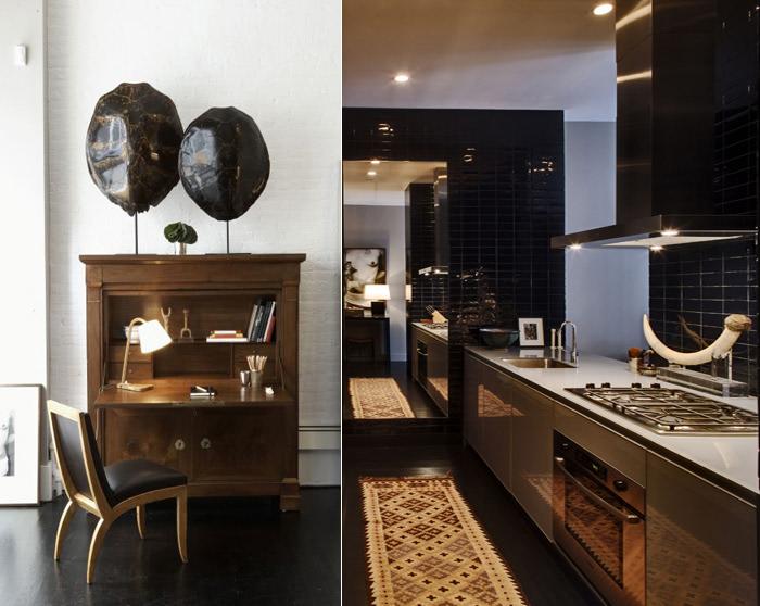 dark wood floors _ study & kitchen