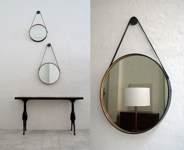 BDDW round mirror - lether and wood frame