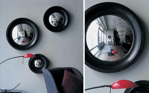 convex round mirror - Ochre