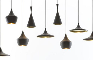 black and golden pendant lights