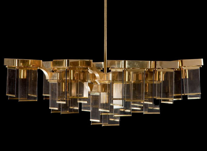 Large brass and glass chandelier by Sciolari