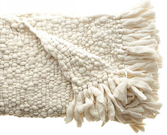 hand spun and twisted merino wool throw